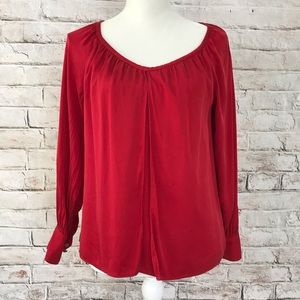 Talbot double layer red silk stretchy blouse sz M